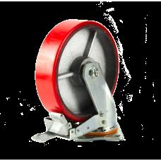 Большегрузное колесо с полиуретановой шинкой С-4102-DUS поворотное, с тормозом, г/п 1500 кг