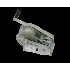 Лебедка барабанная с автоматическим тормозом AHW2600А г/п 1200 кг, канат 10 м с крюком